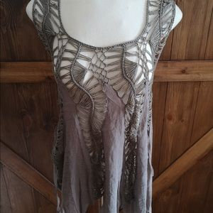 5/$25 QED London Taupe beach coverup tank top